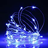 light blue bedroom decor - Ehome 100 LED 33ft/10m Starry Fairy String Light, Waterproof Decorative Copper Wire Lights for Indoor Outdoor, Bedroom Festival Christmas Wedding Party Patio Window with USB Interface (Blue)