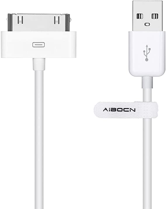 4XEM 10FT 30-Pin Dock Connector To USB Cable For iPhone//iPod//iPad White