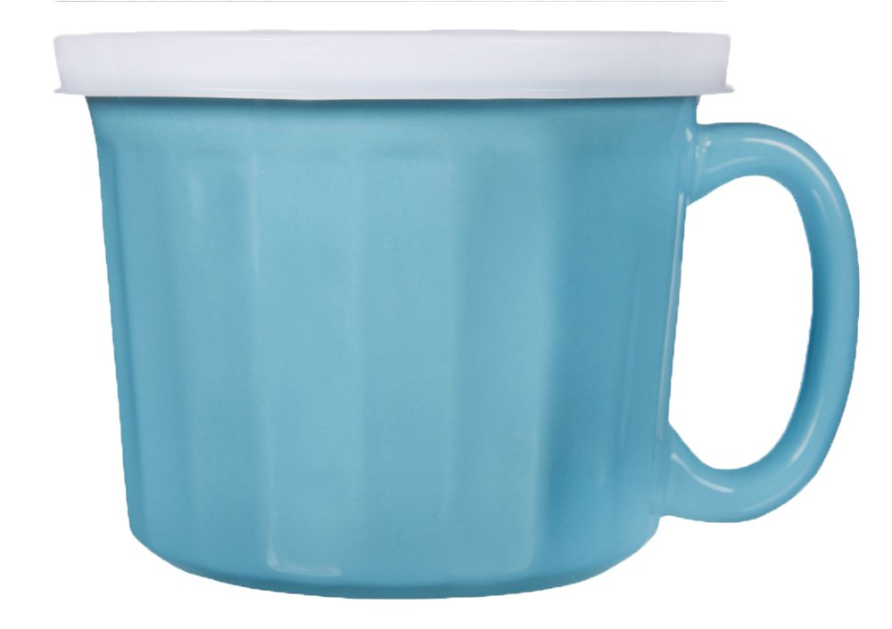Home Essentials Stoneware Ceramic Soup Mug with Lid, Aqua & White, Large, 20 oz.