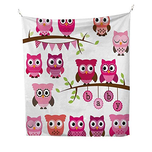 NurserytapestryGirl Baby Shower Themed Owls and Branches Adorable Cartoon Animal Characters 40W x 60L inch Wall tapestryPurple Pink Brown ()