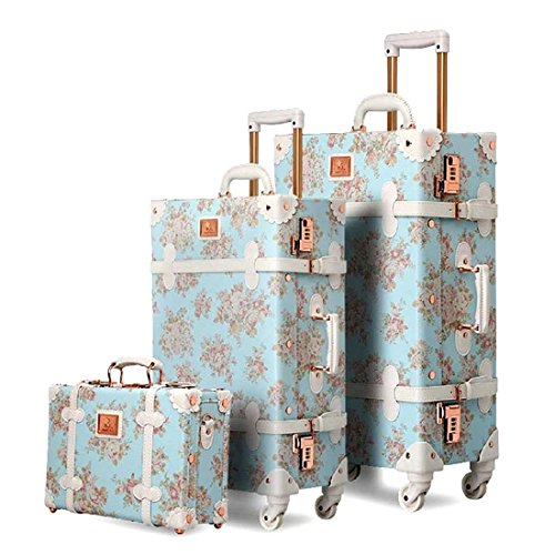 UNIWALKER Vintage Suitcase 3 Piece Luggage Set (Blue floral) (Vintage Leather Luggage)