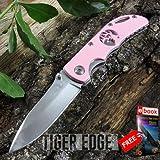 Elk Ridge Mini Hunter Folding Knife Pink Lady Women Girl Cute Mirror Blade + FREE eBOOK by MOON KNIVES