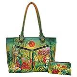 Anuschka Handbag and Wallet Large Leather Shopper Front Pocket (Rousseau's Jungle)