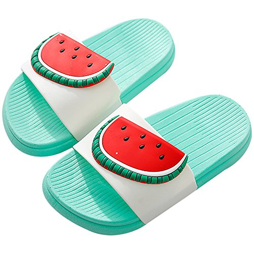 (QZBAOSHU Boy Girl Beach Slides Slippers Sandals Women Men 6/6.5 US Women/Label Size 38/39 Green-Watermelon)