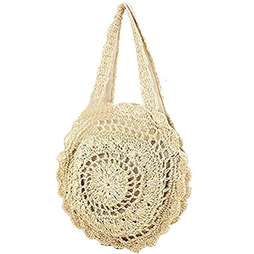 Donalworld Women Beach Bag Round Straw Crochet Shoulder Summer Bag Purse L ()