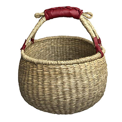 COCOBOO - Natural Bolga Handcrafted Seagrass Basket, Grocery Basket, Tote Storage Baskets, Eco Friendly 14 x 9/14 inches (natural)  (Straw Basket Woven)
