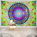 Kutita Tapestry Wall Hanging Psychedelic Bright Colorful Abstract Kaleidoscope Abstract Art Backdrop Wall Tapestry Home Decorations for Bedroom Living Room Dorm Decor in 80' wX60 L Inches