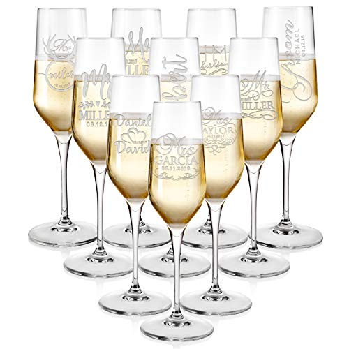 Set of 2, Personalized Wedding Toast Champagne Flutes - Mr. Mrs. Date & Last Name Champagne Wedding Glasses - Engraved Flutes for Bride and Groom Gift for Customized Wedding Gift -