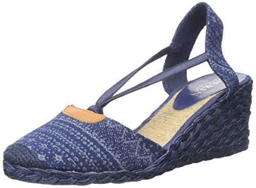 Lauren Ralph Lauren Women's Cala Espadrille Wedge Sandal, Indigo Multi Denim Multi, 7 B US