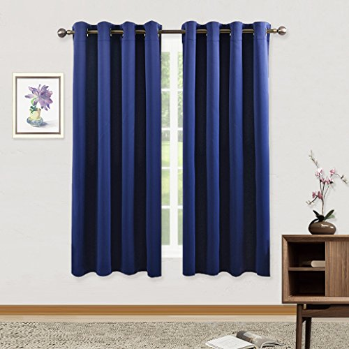Pony Dance Triple Woven 8 Grommet Thermal Insulated Blackout Window Curtains Panel For Kids Room-(Navy Blue Color),52×63-Inch,2 Pieces