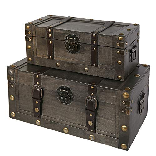 Chest Decorative Storage (Soul & Lane Miranda Decorative Wooden Storage Boxes (Set of 2) | Wooden Chest Trunk for Keepsake Toys Photos Memories Closet Nursery Office Bedroom Decoration)