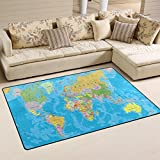 WOZO Blue World Map Area Rug Rugs Non-Slip Floor Mat Doormats for Living Room Bedroom 60 x 39 inches