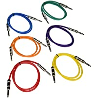 Seismic Audio SATRX-3BGORYP 6 Pack of Multi Color 3 1/4TRS to 1/4 TRS Patch Cables