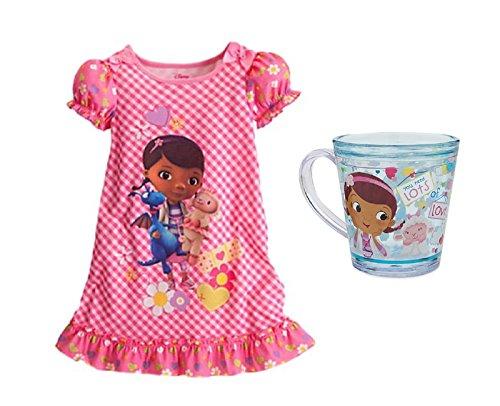 Disney Little Girls' Doc McStuffins Night Shirt & Funfill Cup - 2 Piece Gift Set (2) -