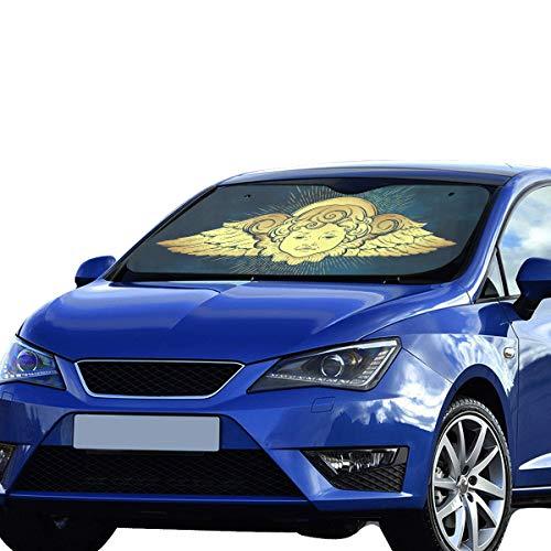 VNASKL Windshield Sun Shade Car Gold Cherub Cute Winged Curly Smiling Polyester&aluminized Film Cushion Windows Car Shade Foldable Maximum Uv&Sun Protection Keep Your Vehicle Cool ()