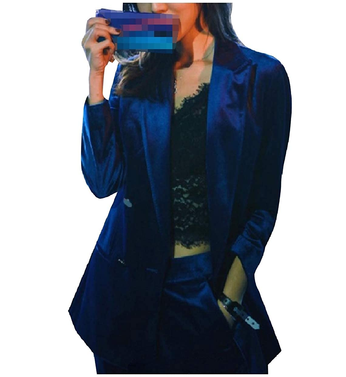 Tootless-Women Double Breasted Blazer Business Pants 2-Piece Suits Set Sapphire Blue L