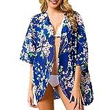 Nuewofally Bikini Swimsuit Cover Ups for Women Flower Print Swimwear Cardigan Bathing Suit Tankini Monokini Smock Blue