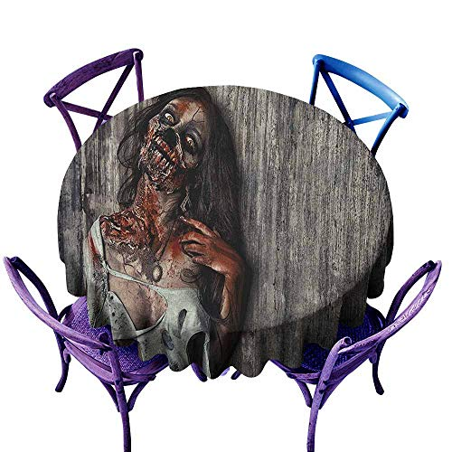 ONECUTE Waterproof Table Cover,Zombie Angry Dead Woman Sacrifice Fantasy Design Mystic Night Halloween Image,Party Decorations Table Cover Cloth,70 INCH Dark Taupe Peach Red]()