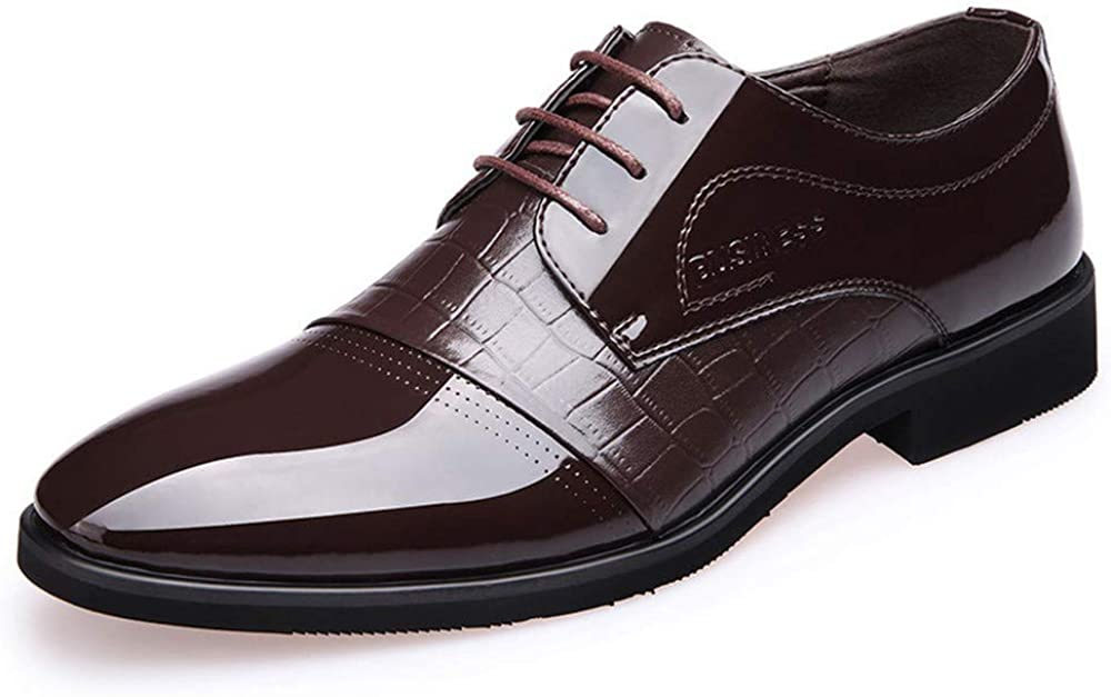 ZUUI Men Dress Shoes Lace-up Leather Oxford Classic Modern Formal Business Comfortable Dress Shoes for Men Brown