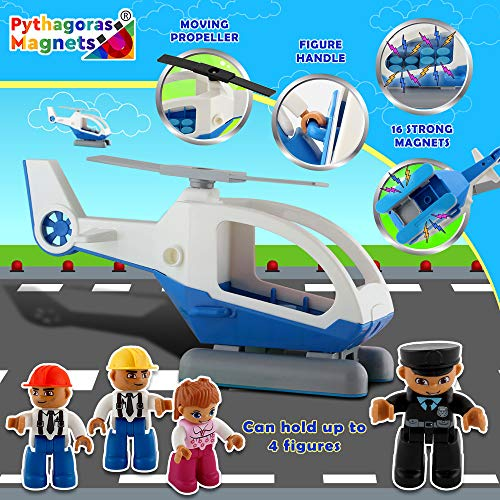 Pythagoras Magnets Entire Collection Includes 3 Magnetic Figure Sets, Car, Helicopter, Motorbike, Plane Sets. Let Your Kids Imaginations Have No Limits by Pythagoras Magnets (Image #5)