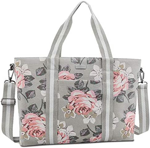 MOSISO Laptop Tote Bag (Up to 17.3 Inch), Canvas Classic Multifunctional Work Travel Shopping Duffel Carrying Shoulder Handbag Compatible Notebook, MacBook, Ultrabook and Chromebook, Gray Base Rose