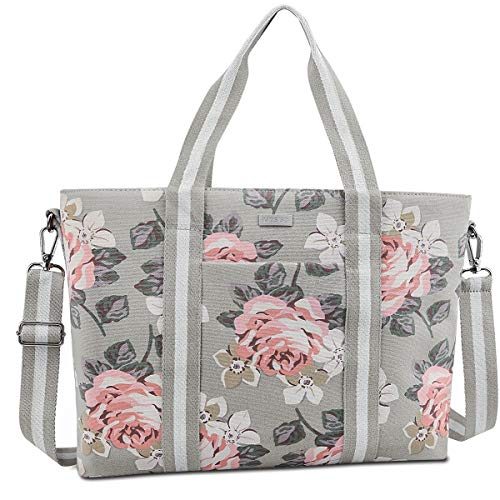 MOSISO Laptop Tote Bag (Up to 17.3 Inch), Canvas Classic Multifunctional Work Travel Shopping Duffel Carrying Shoulder Handbag Compatible Notebook, MacBook, Ultrabook and Chromebook, Gray Base Rose (Pink Computer Bags For Laptops)