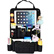 The NUI Life Car Back seat Organizer with Hideaway Holder for Tablets up to 10.5  - Storage and Organization for Kids Toys and Accessories - Backseat Protector, Kick Mat