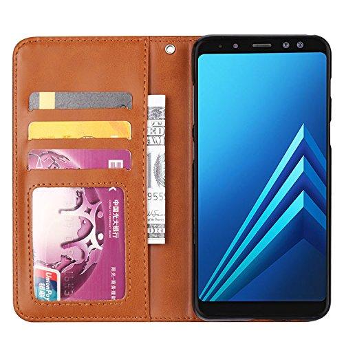 Funda para Huawei P20 Pro,P20 Plus, SunFay Premium Cuero PU Cover Magnético Flip Folio Ranura para Tarjetas Protective Billetera Funda Case con Stand Función para Huawei P20 Pro,P20 Plus - Rojo Marron
