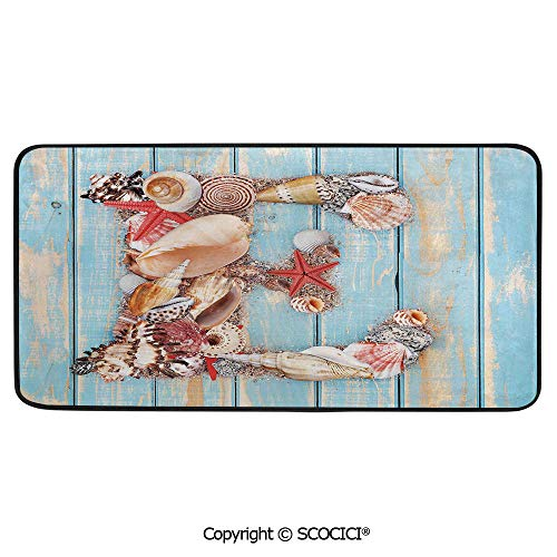 Rectangle Rugs for Bedside Fall Safety, Picnic, Art Project, Play Time, Crafts, Large Protective Mat, Thick Carpet,Letter E,Stylized E Font Different Lively Seashells Exotic Underwater,39