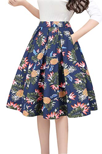 Tandisk Women's Vintage A-line Printed Pleated Flared Midi Skirts with Pockets (Navy Pineapple, S)