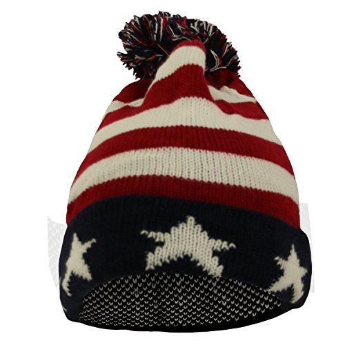AracciUS Premium Unisex Warm Knit USA American Flag Style Beanie Hat (US Flag) (Telefon-chat Usa)