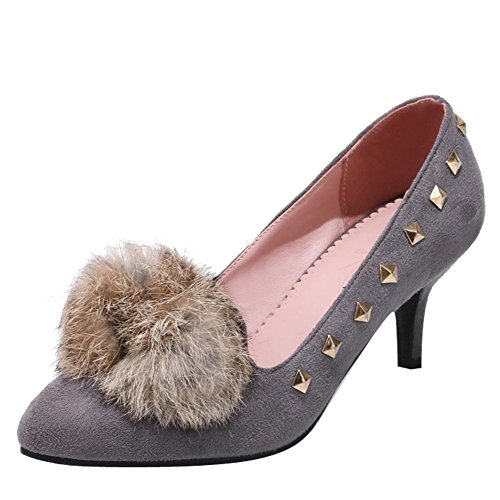 Carolbar Women's New Style Chic Rivets High Heel Pointed Toe Court Shoes Grey NGgu0kB
