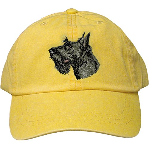 - Cherrybrook Dog Breed Embroidered Adams Cotton Twill Caps - Lemon - Scottish Terrier
