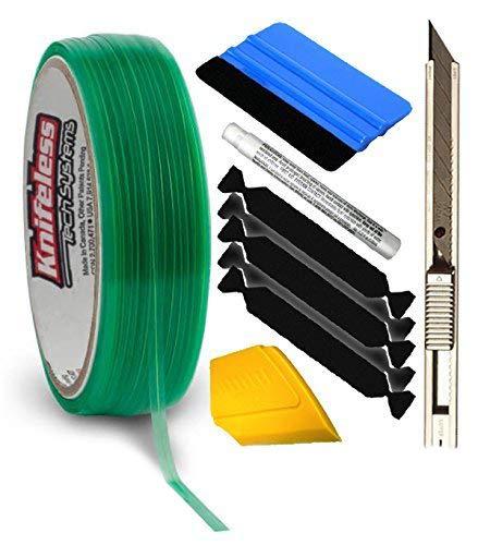 VViViD Knifeless Vinyl Wrap Cutting Tape Finishing Line 50M Plus 3M Toolkit (BluSqueegee,YlwSqueegee,5xBlckFlt,3MPrmrPen&Knf)