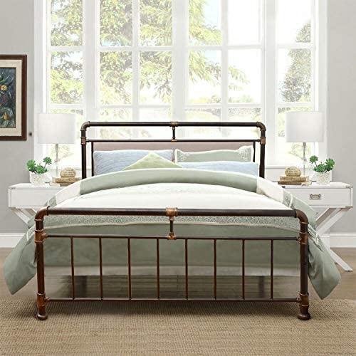 WAYTRIM Vintage Metal Bed Frame Platform with Headboard and Footboard, Heavy Duty Steel Slat Support, Box Spring Replacement, Retro Water Pipe Design – Queen Size 51BFcnNNlcL