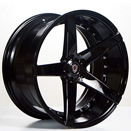 Marquee MQ 3226 - 20 Inch Staggered Rims - Set of 4 Black Wheels - Made for Sports Racing Cars - Fits Challenger, Charger, Mustang, Camaro, Cadillac and More (20x9 / 20x10.5) - Rines Para Carros (20 Inch Staggered Rims)