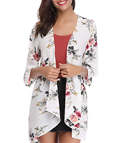 Women's Chiffon Kimono, Floral Print Cardigan, Sheer Loose Cover Up Casual Blouse Half Sleeve Tops (A43-white, Medium)