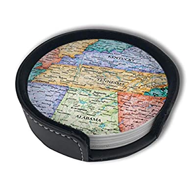 LKJDAD Map of Kentucky and Tennessee Premium PU Leather Coasters, Drink Round Coasters with Holder Sets, Suitable for Home and Kitchen(6PCS)