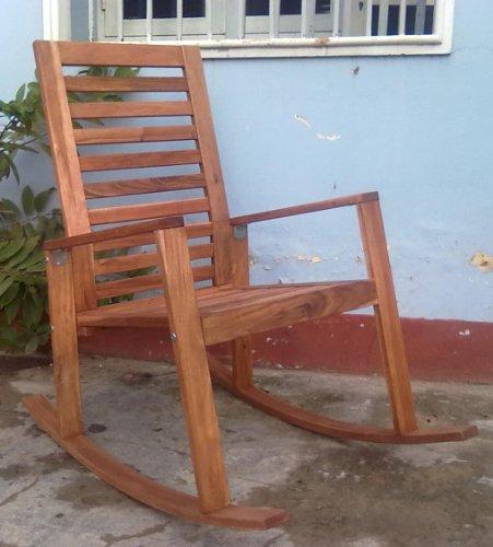 Contemporary Acacia Wood Outdoor Indoor Rocking Chair