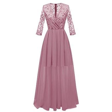 1460d656d1995 Hffan Damen Maxikleid Langes Kleid Schöne Cocktailkleid Ärmellos Partykleid  Hochzeit Elegante Kleider Festliche Frauen A-
