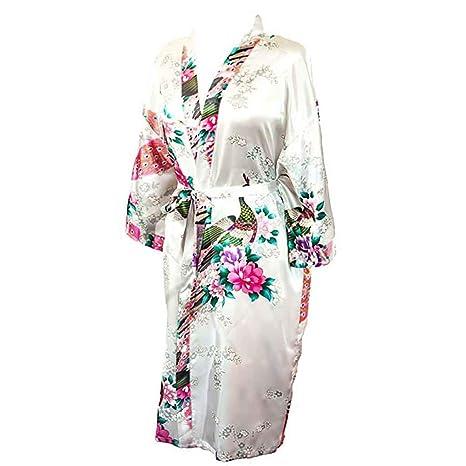 Internet_Pijama Casual Estampado de Mujer, Noble, Estilo Palacio, Kimono Batas Mujer, Cárdigan Largo de Seda, Diseño de Corbata, Beige: Amazon.es: Ropa y ...