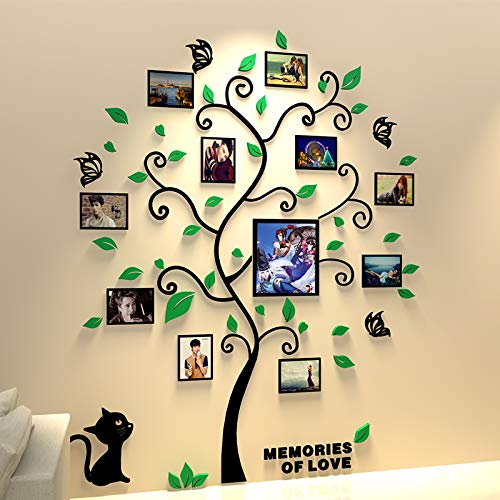 Unitendo 3D Wall Stickers Photo Frames FamilyTree Wall Decal Easy to Install &Apply DIY Photo Gallery Frame Decor Sticker Home Art Decor, Green Leaves Tree with cat, ()