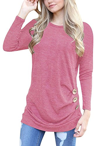 Long Sleeve T Shirt Fall Tunics for Women Cotton Pleated Crew Neck with Buttons Casual