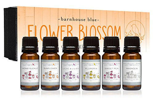 Flower Blossom Premium Grade Fragrance Oil – Gift Set 6/10ml Bottles – Honeysuckle, Lilac & Lilies, Sweet Pea, Plumeria, Magnolia, Sunflower