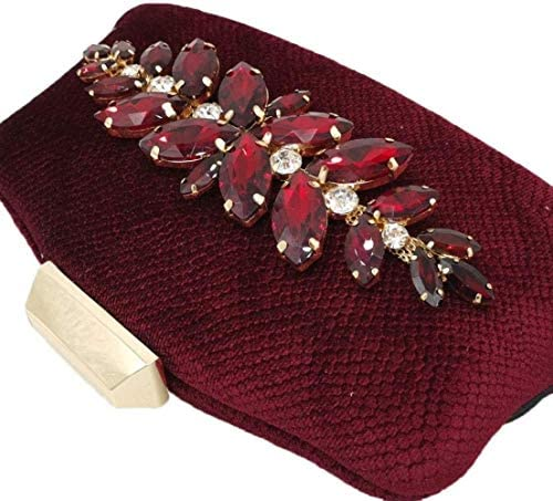 HZYDD Red Velvet Diamond Drilling Hot Velvet Evening Bag Handbag Clutch Bag Chain Shoulder Bag Messenger Bag 21 * 4.5 * 10cm prtty