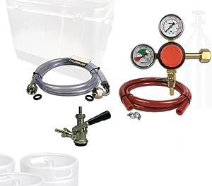 Coldbreak Jockey Box Dispensing Kit, 1 Tap, Includes: CO2 Regulator, 4' Air Line, Sankey 'D' Beer Coupler (SS Probe), 6' Jockey Box Beverage Jumper (SS Tailpieces), NO Tank, SSDK1-D