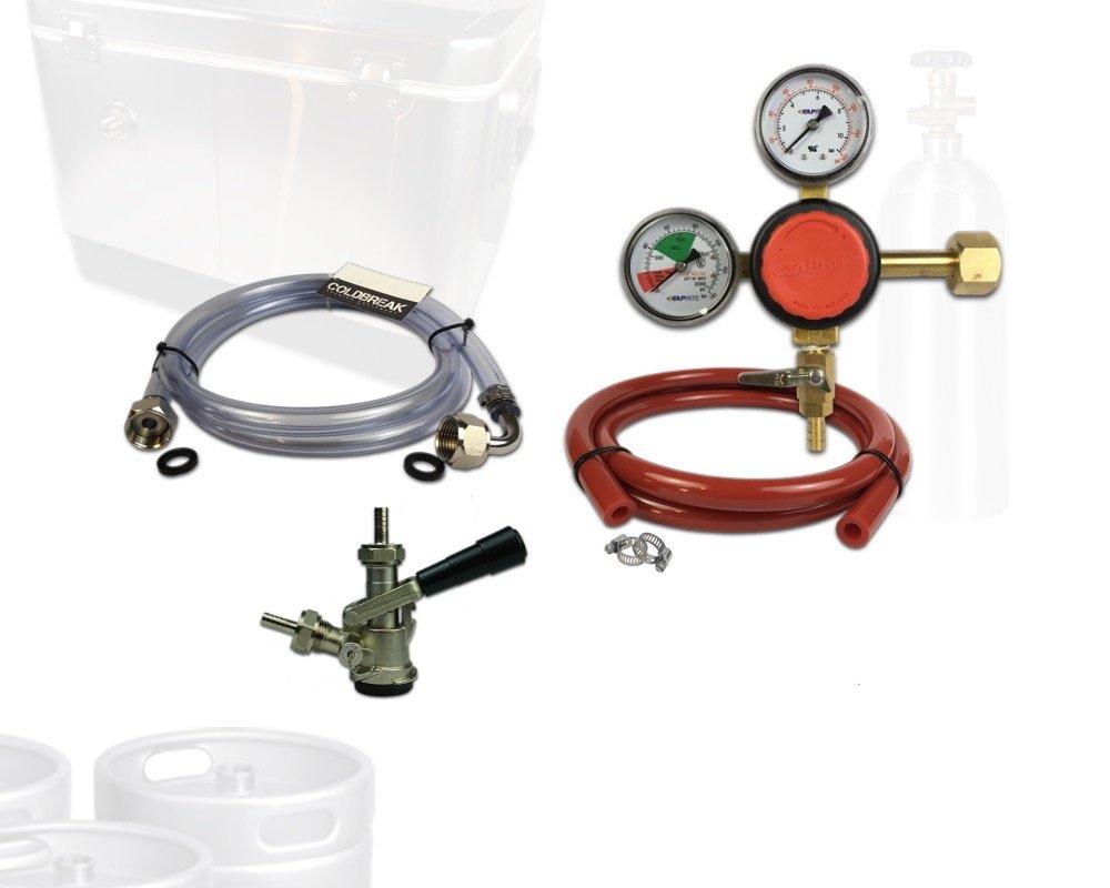 Coldbreak Jockey Box Dispensing Kit, 1 Tap, Includes CO2 Regulator, 4' Air Line, Sankey 'D' Beer Coupler (SS Probe), 6' x 3/8'' Jockey Box Beverage Jumper (SS Tailpieces), NO Tank
