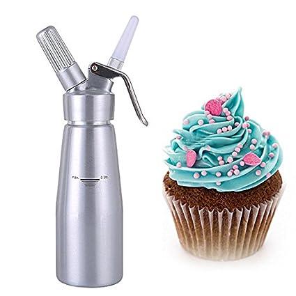 Aluminio fresco de nata hacer pasteles mantequilla de postre de café dispensador de espuma de pistola