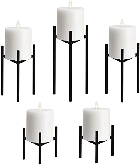 Amazon Com Metal Pillar Candle Holders Set Of 5 Black Candlesticks For Fireplace Table Wedding Christmas Candelabra Decoration Modern Art Classic Design With Geometric Shape Kitchen Dining