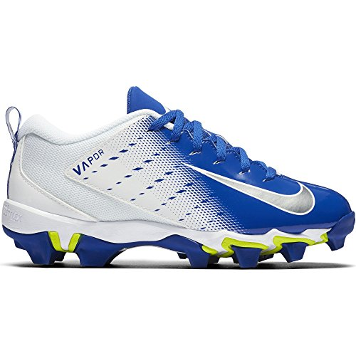 Nike Boy's Vapor Untouchable Shark 3 BG Football Cleat White/Metallic Silver/Game Royal Size 4.5 M US by Nike (Image #1)